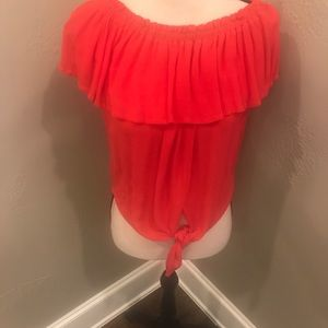 Express Tie Front Off The Shoulder Ruffle Top USED